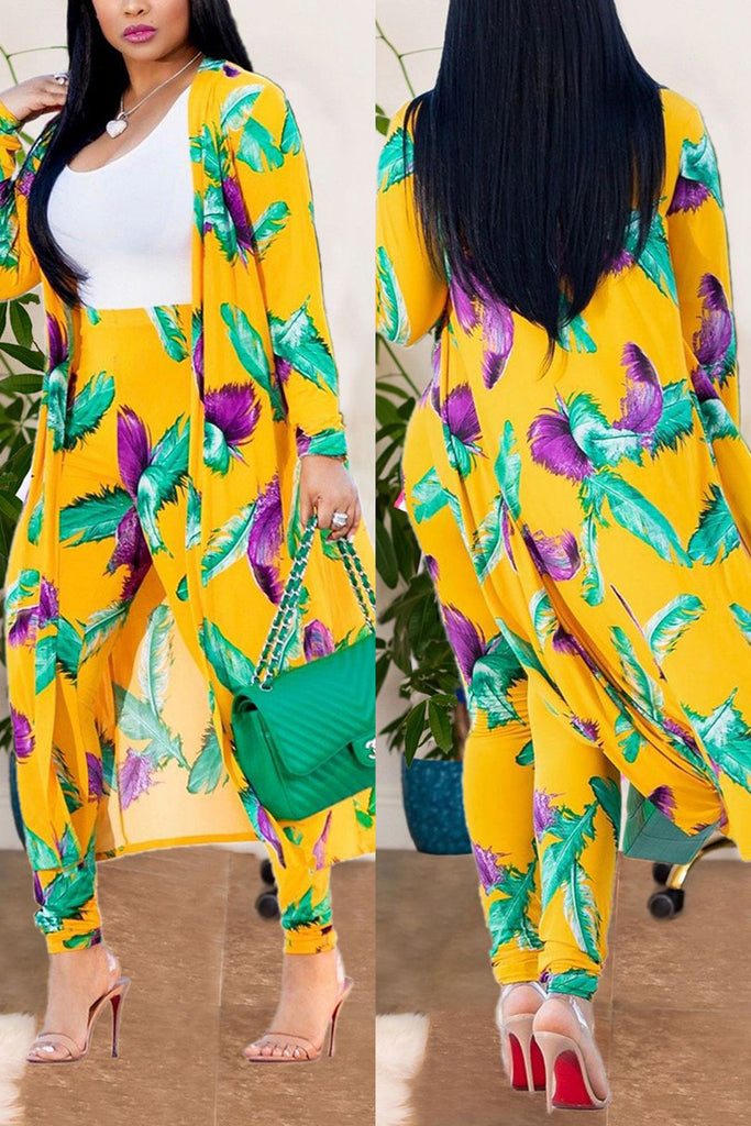 Sexy Printing Cardigan Long Sleeve Trousers Suit