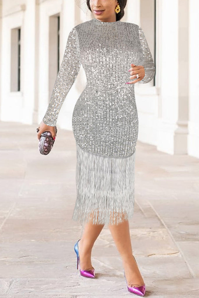 Polyester Lightly cooked Cap Sleeve Long Sleeves O neck Step Skirt Knee-Length Solid Sequin tassel