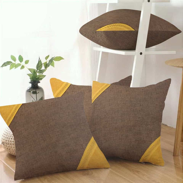 Pack of 4 Pcs. Multi-colour Cushions - (Brown, Yellow)