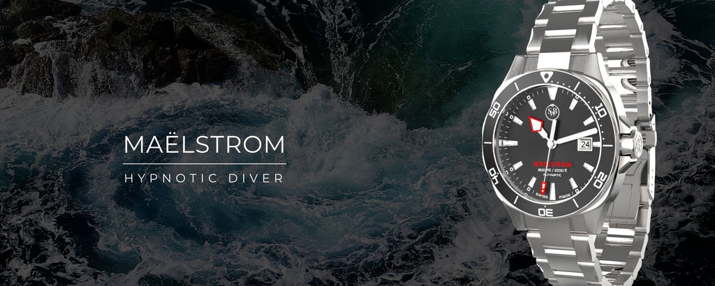 Maelstrom Black Diver watch, inspired to E.A.Poe