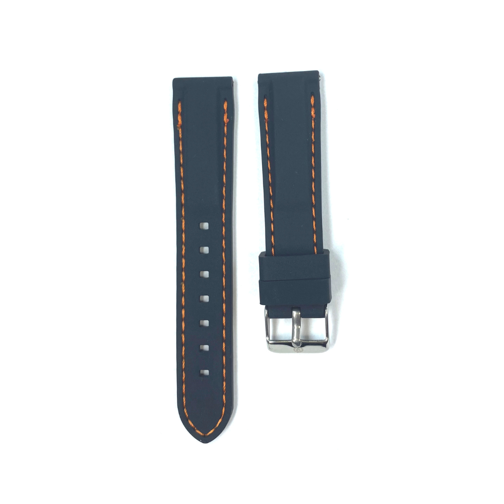Black Rubber with Orange Stichting strap