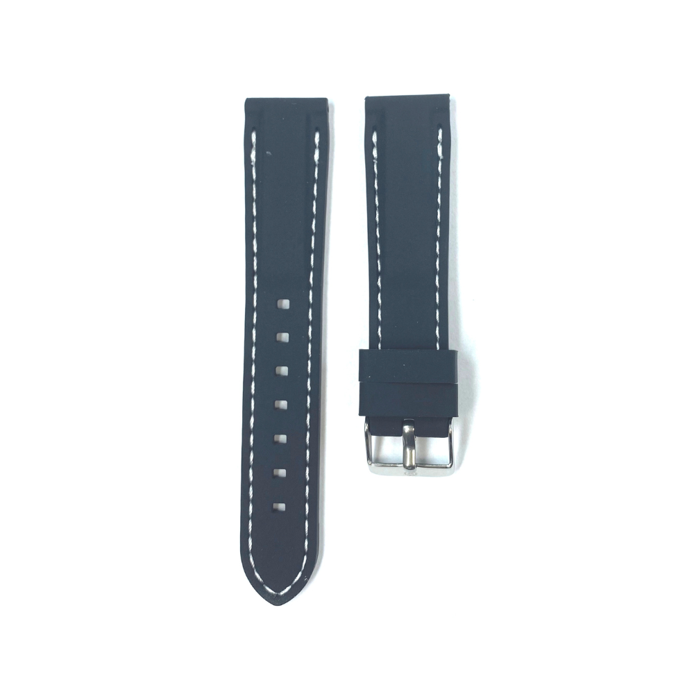 Black Rubber with White Stichting strap