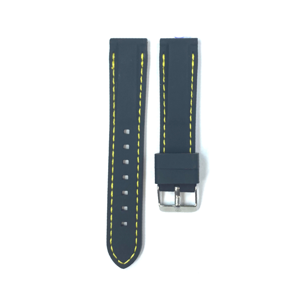 Black Rubber with Yellow Stichting strap
