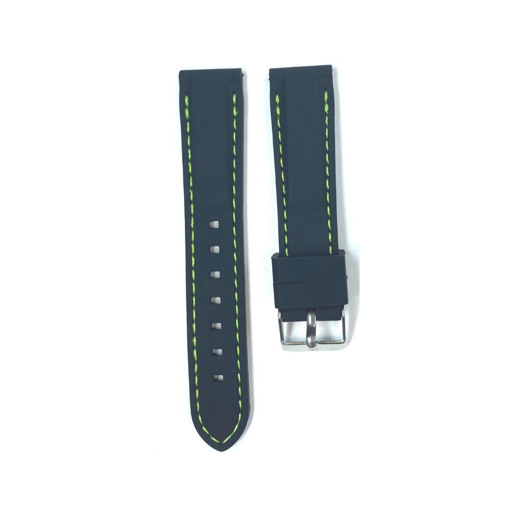 Black Rubber with Green Stichting strap
