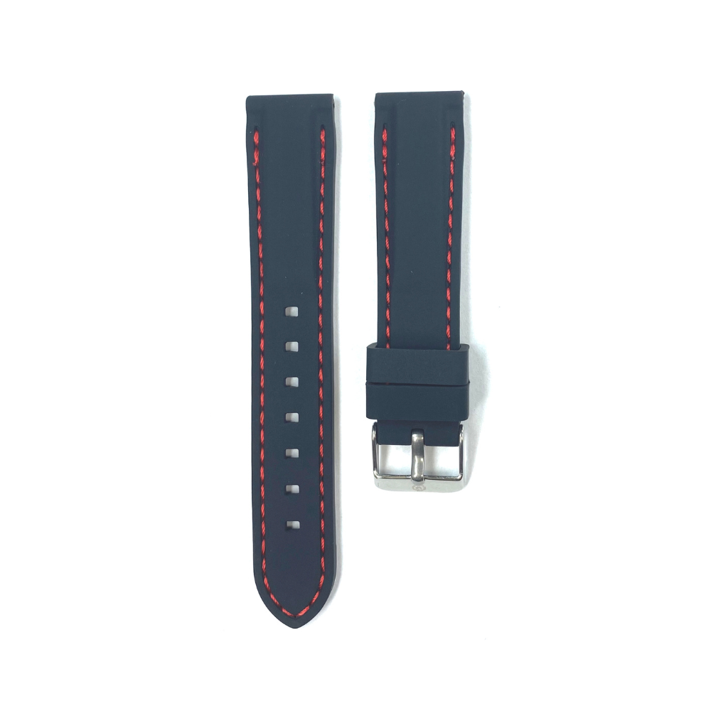 Black Rubber with Red Stichting strap
