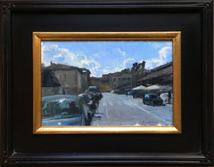 Cloudy street painting framed