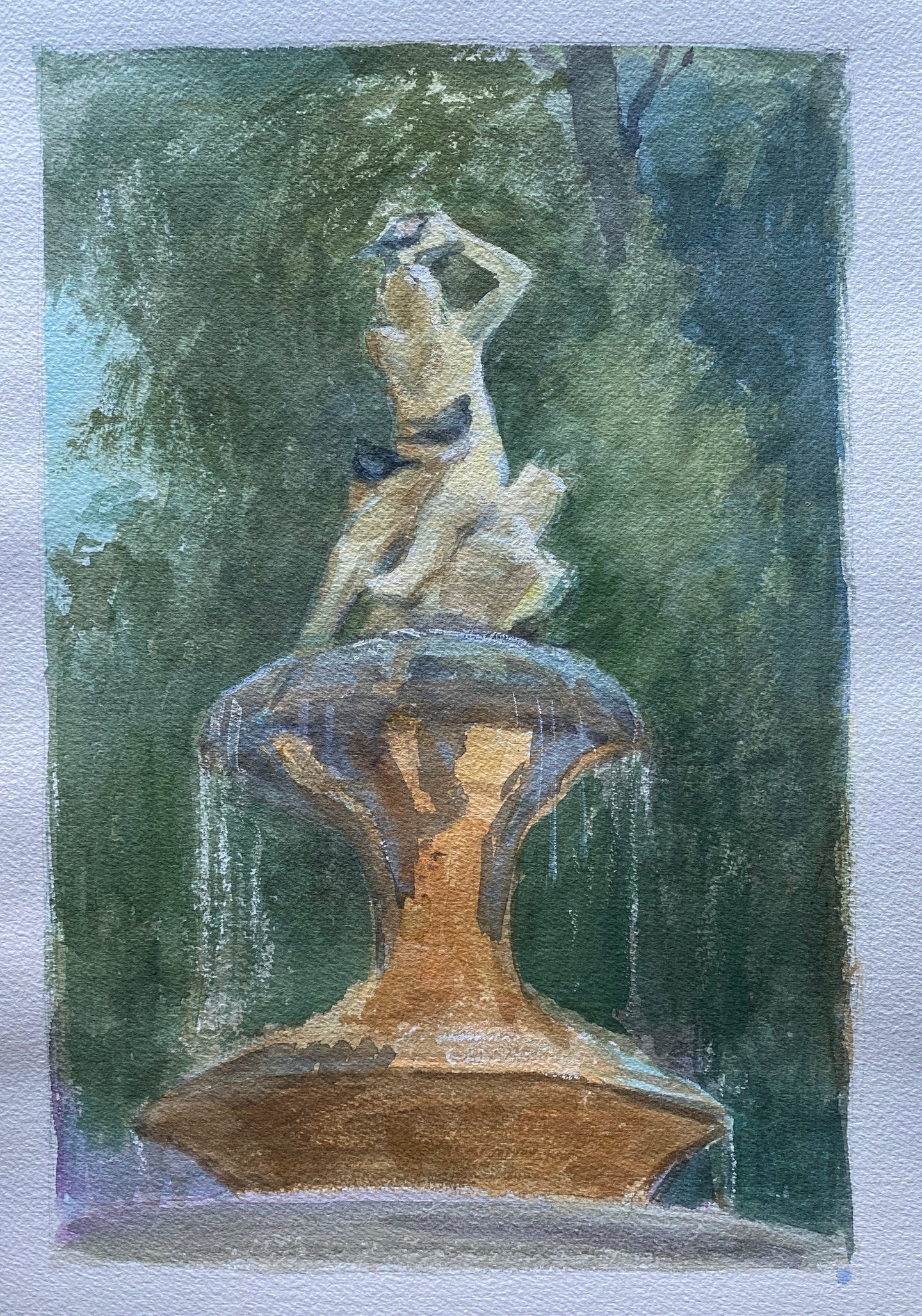 watercolor painting of a figure on a fountain