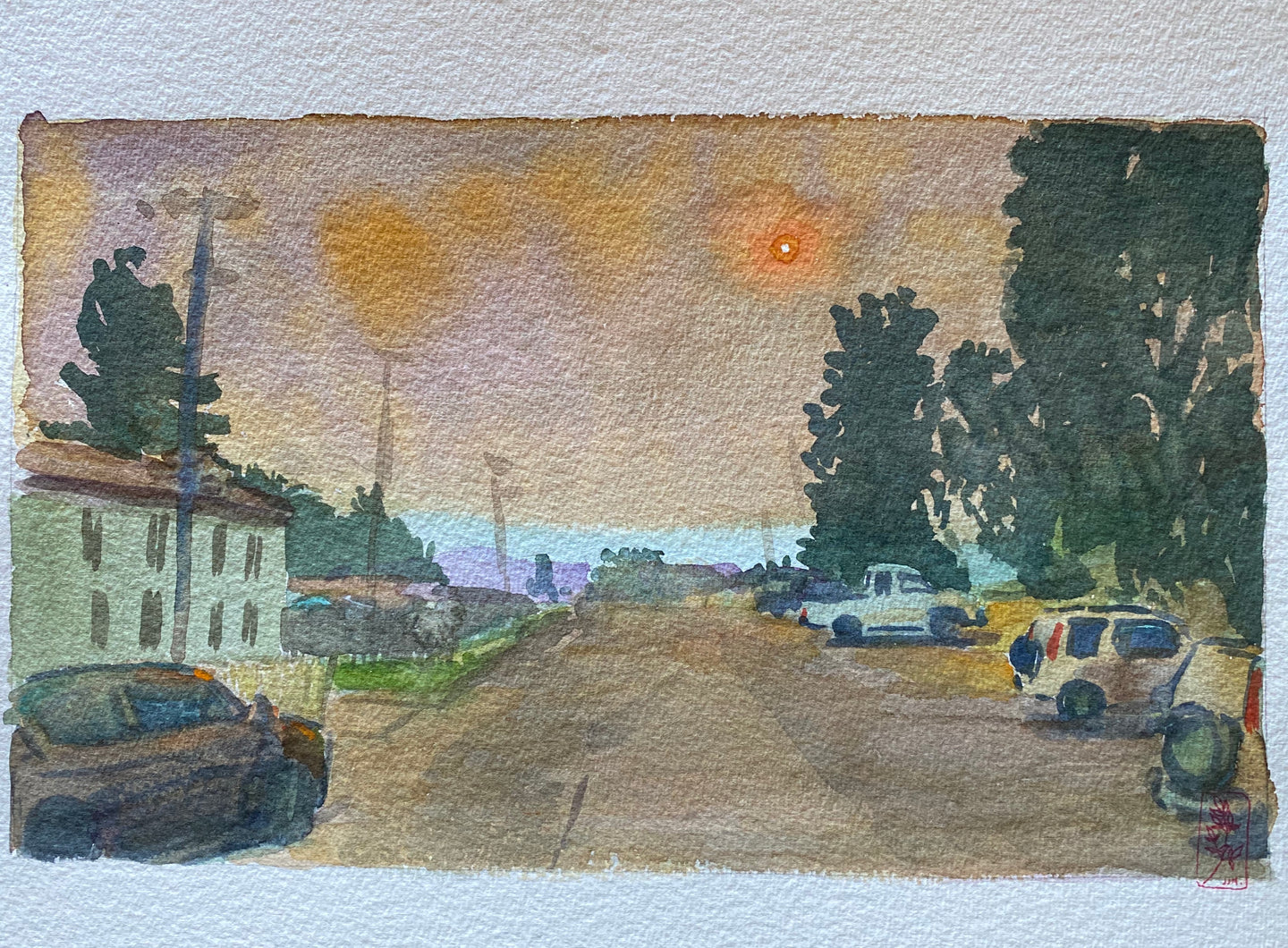 Watercolor painting of orange sun over parking lot