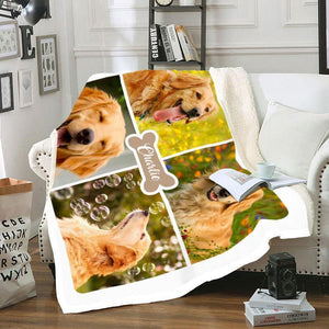 Custom Blanket Pet Name and Photo with frame