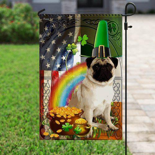 Pug St. Patrick's Day Irish American Flag - Family Presents - Great Blanket, Canvas, Clothe, Gifts For Family
