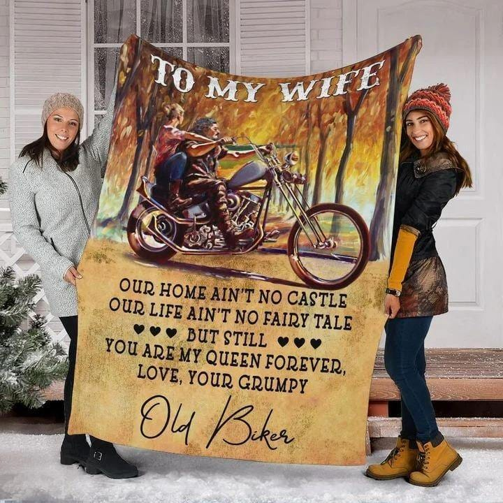 To my wife our home ain't no custom from husband old biker - Fleece Blanket