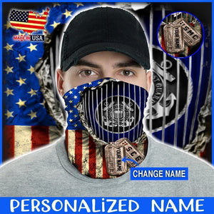 Custom Face Gaiter Cover U.S. Coast Guard CG002 Flag Personalized Name ( Printed in USA ) - Face Gaiter Cover
