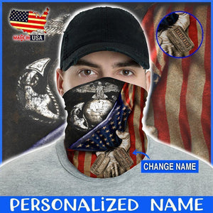 Custom Face Gaiter Cover U.S. Marines Mr001 Flag Personalized Name ( Printed in USA ) - Face Gaiter Cover