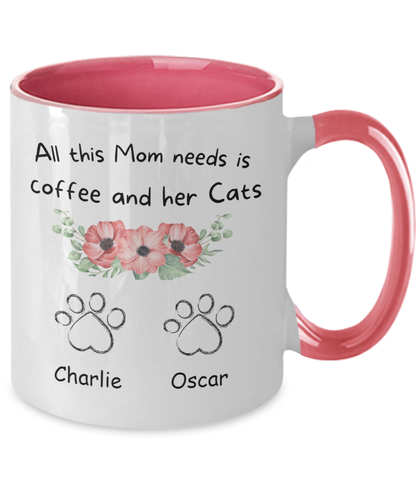 Personalized Accent Mug - Gift for Cat mom - All this mom needs is coffee and her cats mug