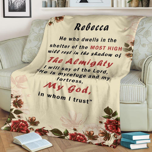 Personalized Blanket To My Dear Wife - I will say of the lord, He is myrefuge and my fortress - Family Presents - Great Blanket, Canvas, Clothe, Gifts For Family