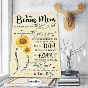 Happy mother's day - Personalized canvas - To My Bonus Mom Life Gave Me The Gift Of You