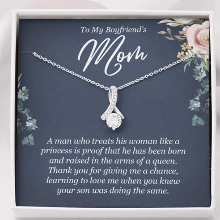 Mothers day necklace, Gift for boyfriend's mother from girlfriend,He has been born and raised in the arms of a queen 14K White Gold Necklace