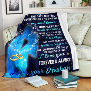 Blanket gift for wife from husband - The day I met you I found the thw one whom my soul loves - Gift for her on Valentine