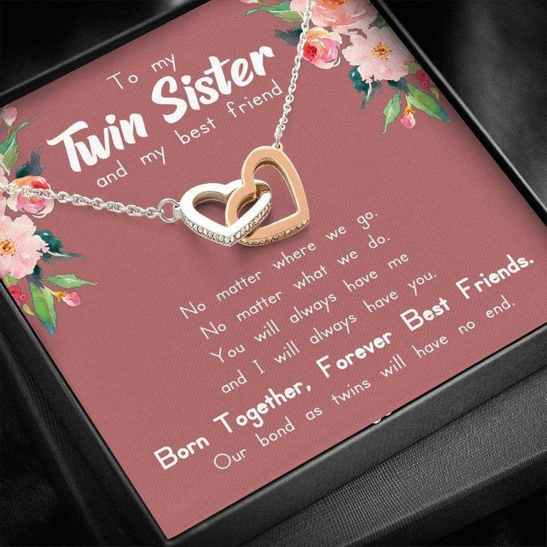 Twin Sister Gift, My Twin Necklace, Gift for Twin Sister, Unique Birthday Gift for Twin Sister, Twin Sister Jewelry, Sister to Sister Gift - Family Presents - Great Blanket, Canvas, Clothe, Gifts For Family