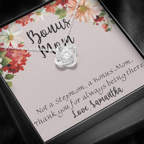 Personalized Mother's Day Necklace - Gift For Bonus Mom From Bonus Daughter - 14k White Gold Necklace, Not A Stepmom, A Bonus Mom