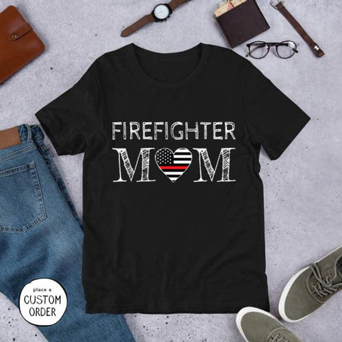 Mothers day T-shirt - Gift from daughter and son to firefighter mom - Firefighter mom thin red line t-shirt