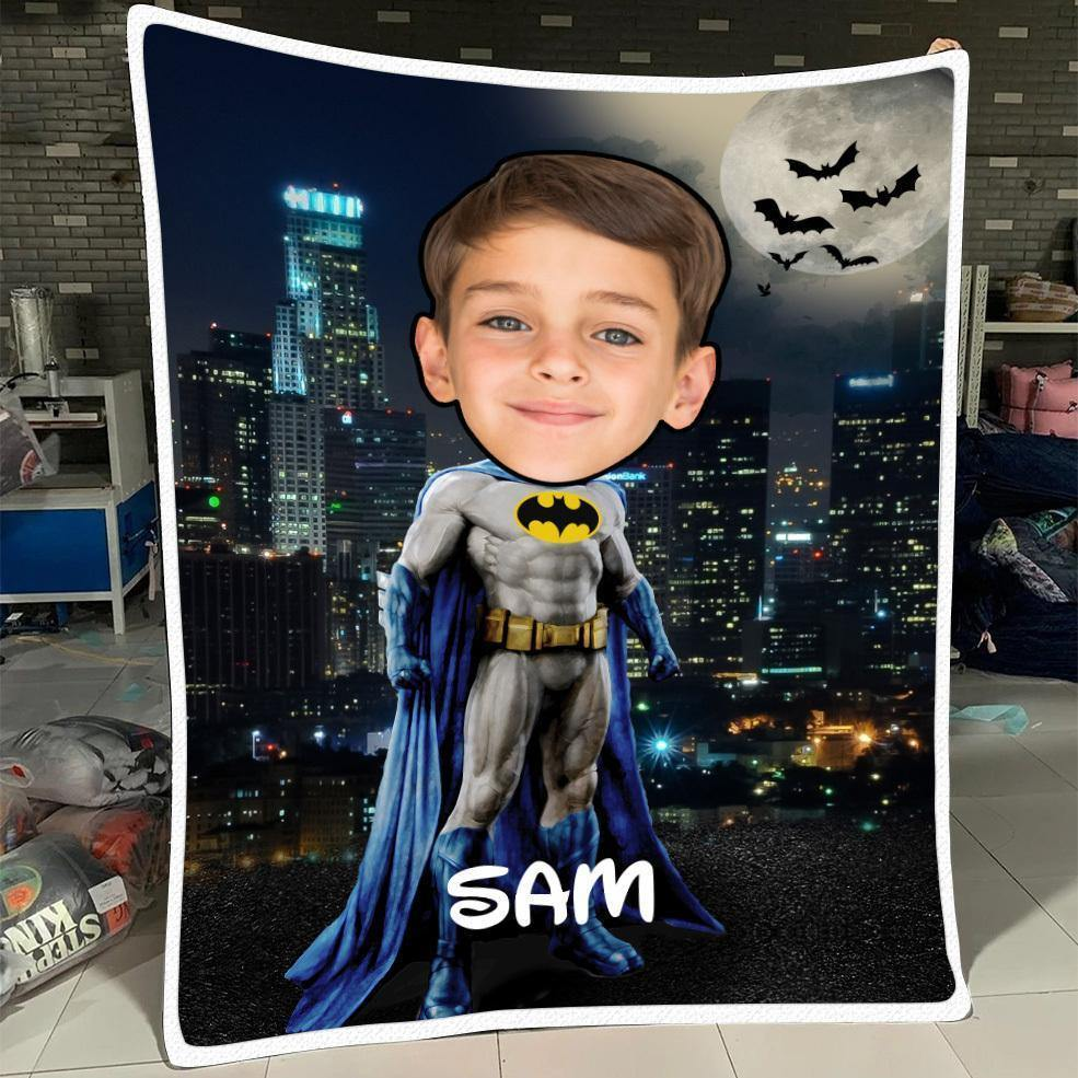 Personalized Kid Blanket - Personalized Hand-Drawing Kid's Photo Portrait Bat-man Fleece Blanket IX - Childrens Gift for Her/Him Toddler Children's Blanket - birthday, christmas day- Custom your name and photo