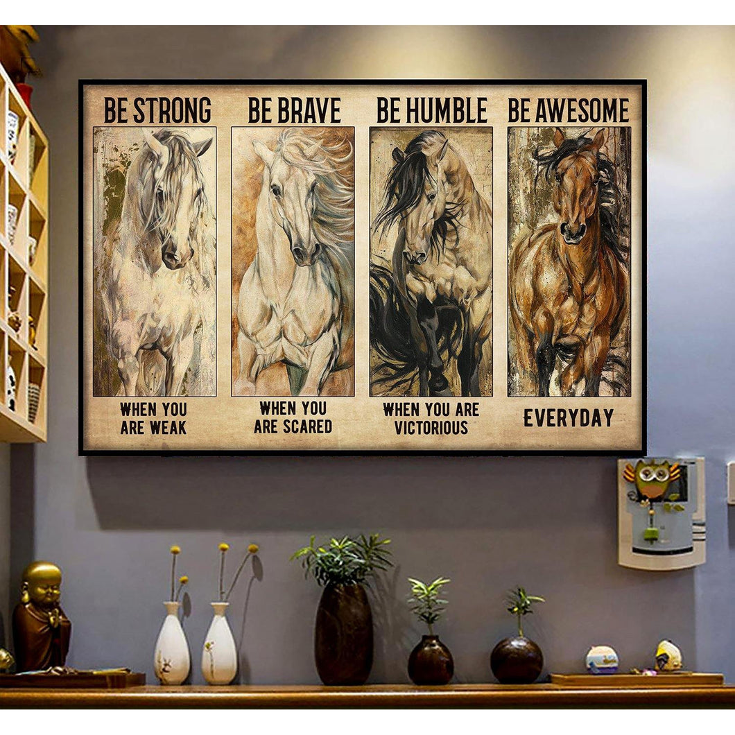 Horses Be Strong Horizontal Canvas - Family Presents - Great Blanket, Canvas, Clothe, Gifts For Family