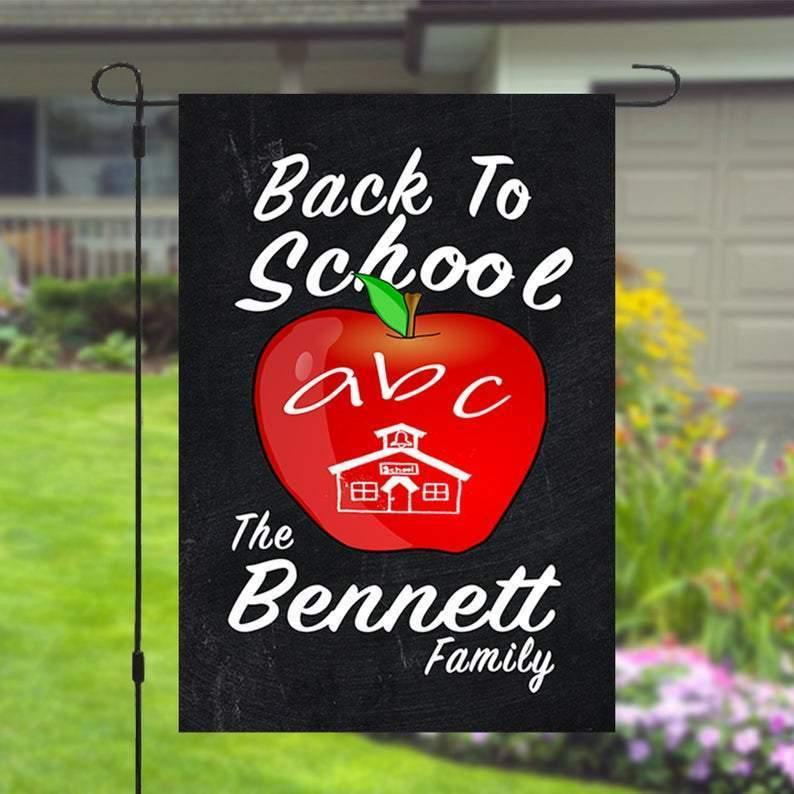 Back To School Apple Personalized Custom Family Name Garden Flag  12x18