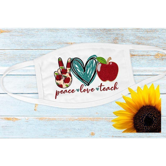 Teacher Cloth Mask// Peace Love Teach // Back To School Cloth Mask // School Design // Teachers// Back to School