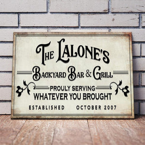 BACKYARD BAR & GRILL - PERSONALIZED HUGE CANVAS VALENTINE GIFT - Family Presents - Great Blanket, Canvas, Clothe, Gifts For Family
