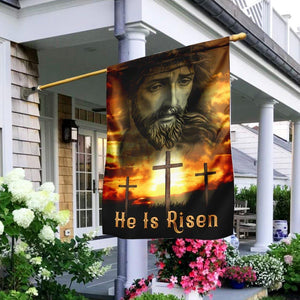 Happy Easter day - He Is Risen Flag Garden Flag House Flag - Family Presents - Great Blanket, Canvas, Clothe, Gifts For Family