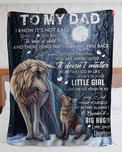 Wolf To My Dad I Know It's Not Easy Blanket - Gift For Dad - Christmas, Birthday Gift - Family Presents - Great Blanket, Canvas, Clothe, Gifts For Family