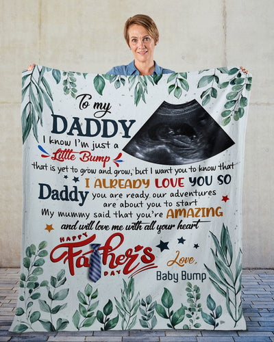 Personalized Fathers Day Blanket, Gift for Dad from baby bump, Wife to husband, Daddy you are our adventure fleece blanket