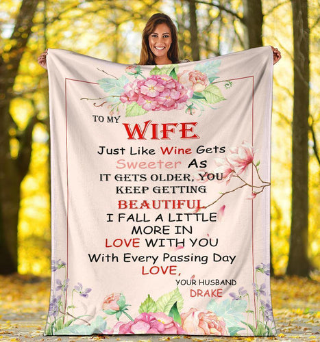 Personalized couple blanket - Gift for wife - Jusst like wine sweeter as it gets older