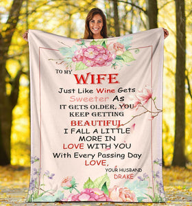 Personalized couple blanket - Gift for wife - Jusst like wine sweeter as it gets older - Family Presents - Great Blanket, Canvas, Clothe, Gifts For Family
