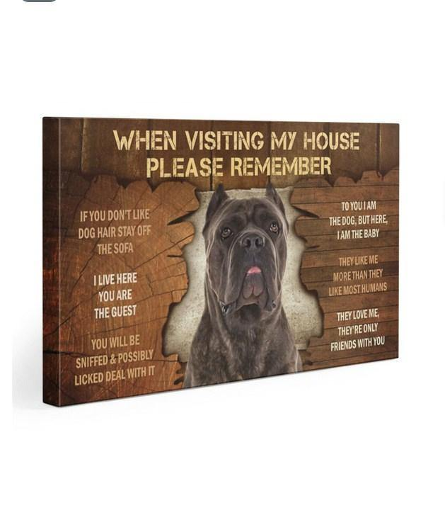 Cane Corso when visiting my house please remember Gallery Wrapped Canvas Prints