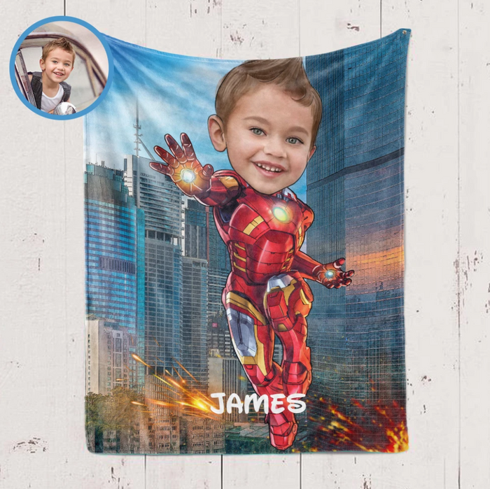 Personalized Kid Blanket - Personalized Hand-Drawing Kid's Photo Portrait Iron-man Fleece Blanket IV - Childrens Gift for Her/Him Toddler Children's Blanket - birthday, christmas day- Custom your name and photo