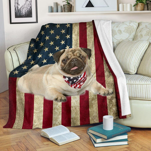 Pug USA American Flag Blanket - Fleece Blanket - Family Presents - Great Blanket, Canvas, Clothe, Gifts For Family