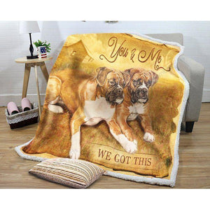 Dogs Boxer You And Me Boxer Dog Blanket Sherpa Fleece Blanket