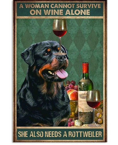 Rottweiler Wine Canvas - A woman cannot survive on wine alone She needs a Rottweiler - Family Presents - Great Blanket, Canvas, Clothe, Gifts For Family