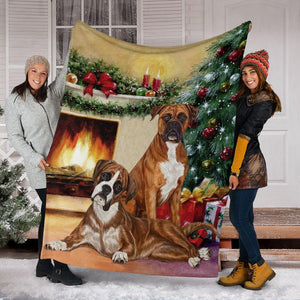Boxer Christmas Greetings Blanket - Gift for friends, for lover dog