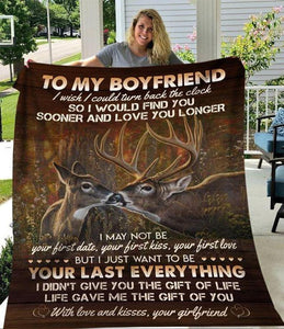 Deer To My Boyfriend Blanket - I Want To Be Your Last Everything Your Girlfriend - Blanket Gift For Boyfriend - Valentine Gift For Him/her