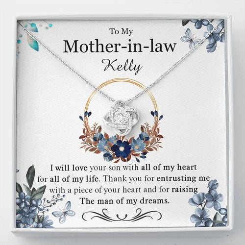 Personalized Mother's Day Necklace - Gift For Future Mother In Law From Daughter In Law - 14k White Gold Necklace, I Will Love Your Son With Of All My Heart