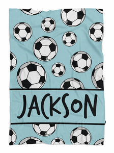 Personalized Blanket - Personalized soccer sports blanket - Gift for Kid-  birthday, christmas day -Custom your name