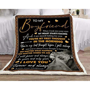 To My Boyfriend Blanket - You're My Last Thought Before I Fall Asleep - Blanket Gift For Boyfriend - Valentine Gift For Him/her - Family Presents - Great Blanket, Canvas, Clothe, Gifts For Family