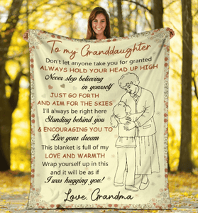 To My Granddaughter Blanket - Gift for Christmas, Birthday - This blanket is full of my love and warmth