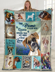 Fleece Blanket Boxer Dog Blanket - This Home Is Filled With Kisses, Wagging tails, wet noses and love