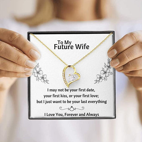 Gifts To My Future Wife Heart Necklace with Message Card and Gift Box, Valentine gift for Girlfriend, Fiance and Couple Gift
