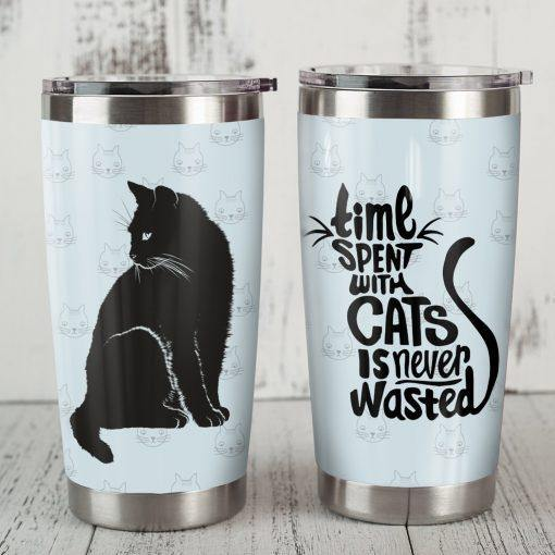 Black Cat Steel Tumbler - Time spent with cats is never wasted