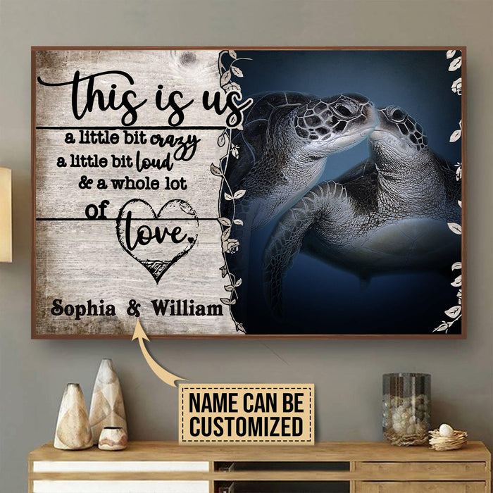 Personalized Sea Turtle A Little Bit Of Horizontal Canvas - Gift for her/him
